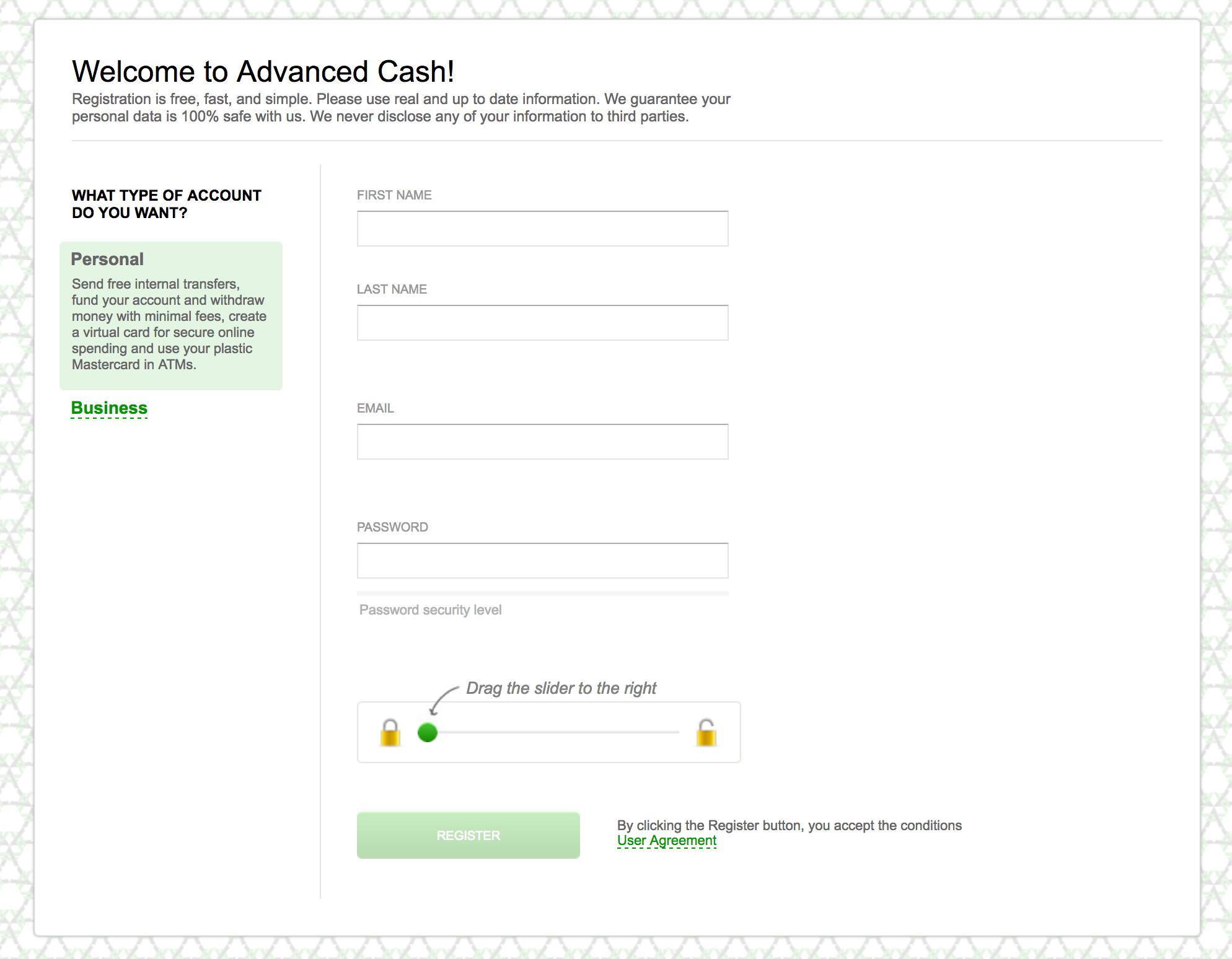 Anmeldung bei AdvCash