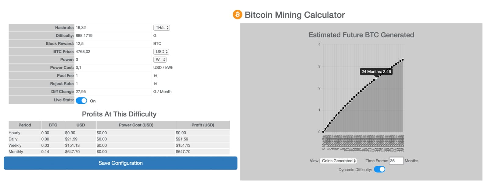 BTC Mining Rechner