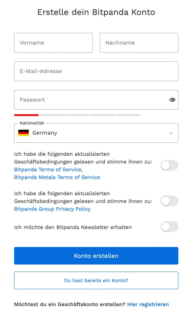 Bitpanda Account Registrierung
