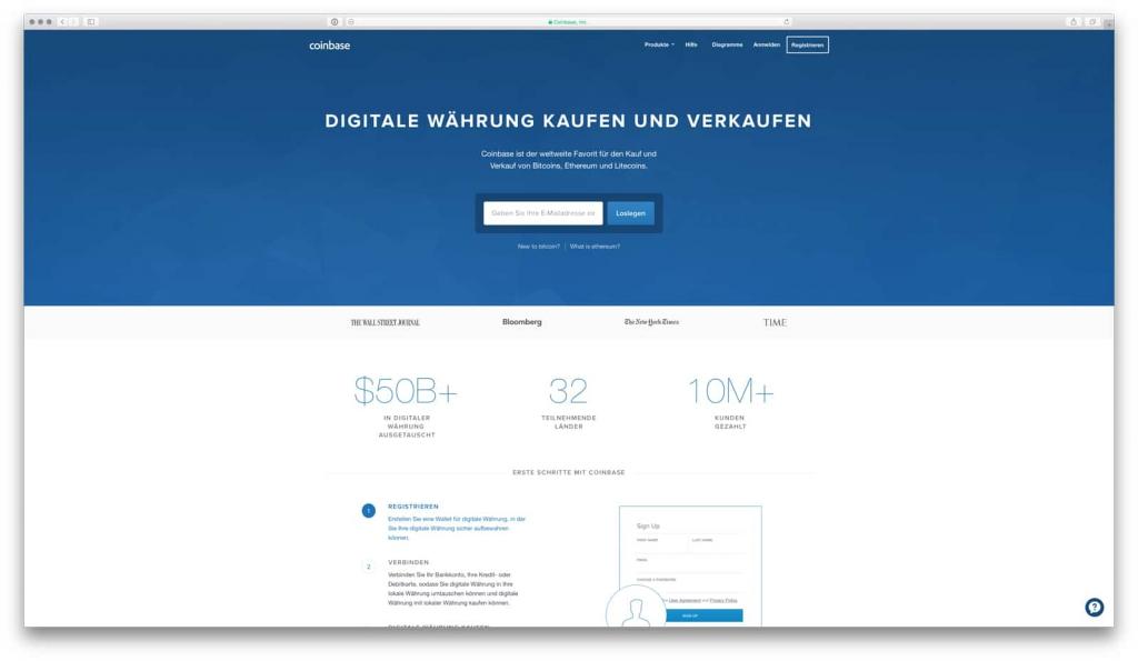 Coinbase Startseite