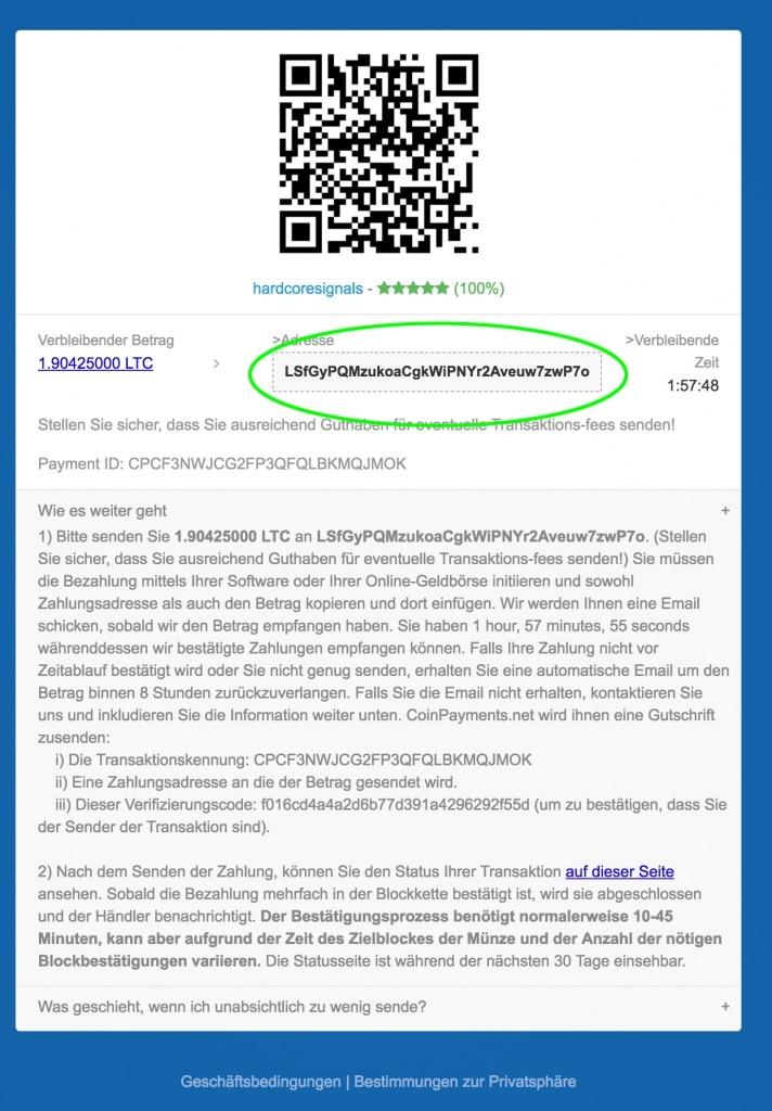 An diese Coinpayments Wallet-Adresse (grün) den entsprechenden Betrag überweisen.