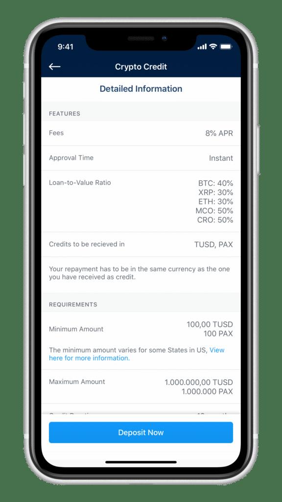 Crypto Credit Bedingungen