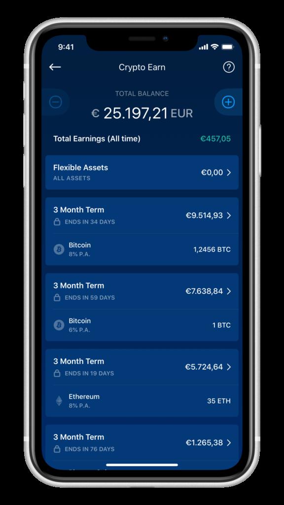 Crypto.com Earn Übersicht über alle laufenden Earn Pakete