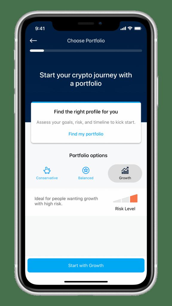 Crypto.com Invest Portfolio Auswahl