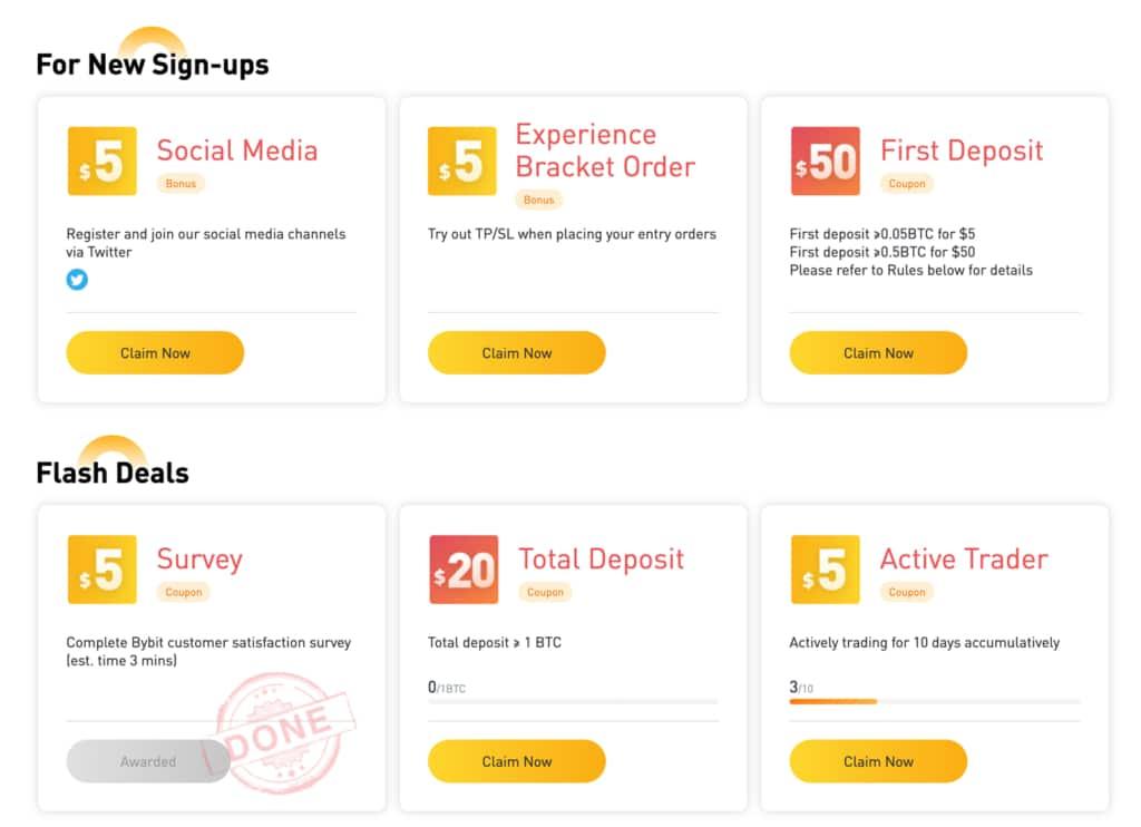 Bybit Bonus für neue und bereits registrierte Trader