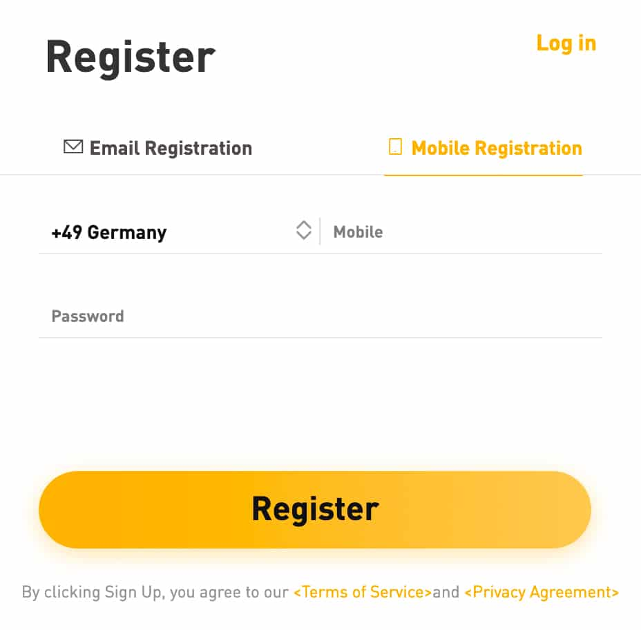 Bybit Registrierung mit E-Mail oder Handynummer