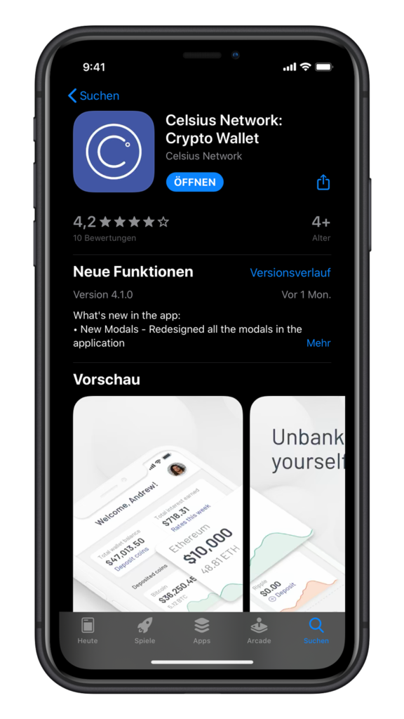 Celsius Network Crypto Wallet