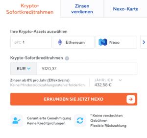 Nexo Krypto Kredit beantragen