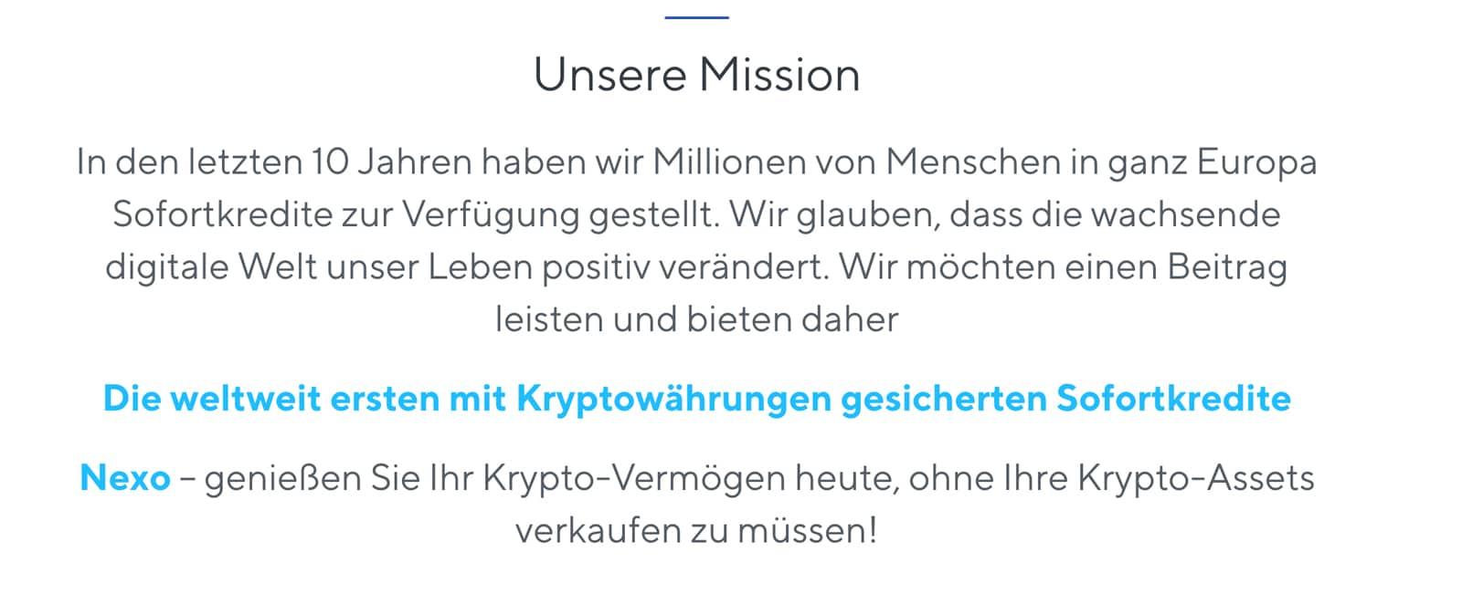 Nexo.io Mission
