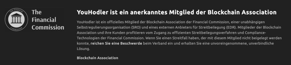 YouHodler ist ein anerkanntes Mitglied der Blockchain Association