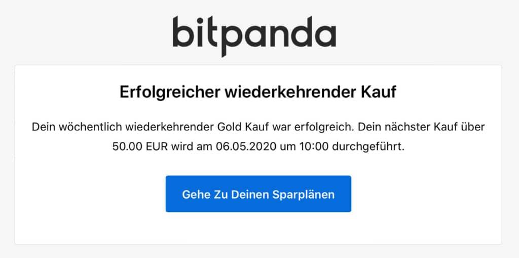 Bitpanda Sparplan Savings ausgeführt