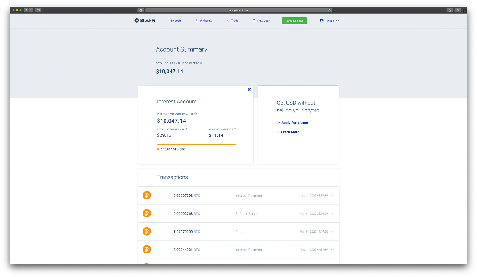 BlockFi Account Bereich