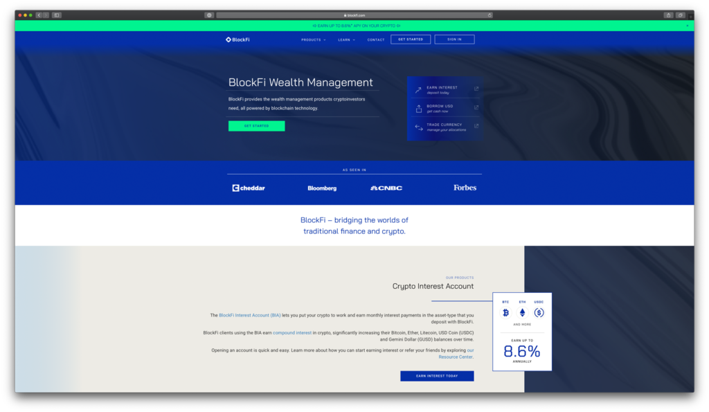 BlockFi Webseite 2020