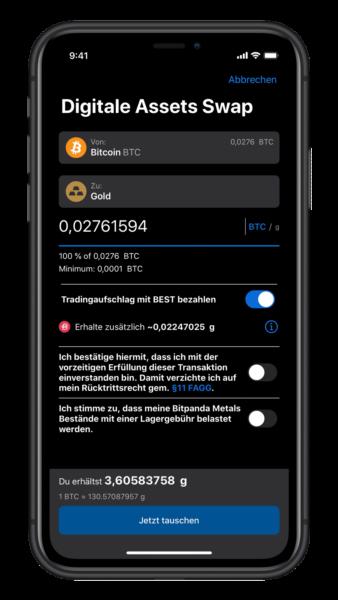 Gold per App mit Bitcoin kaufen