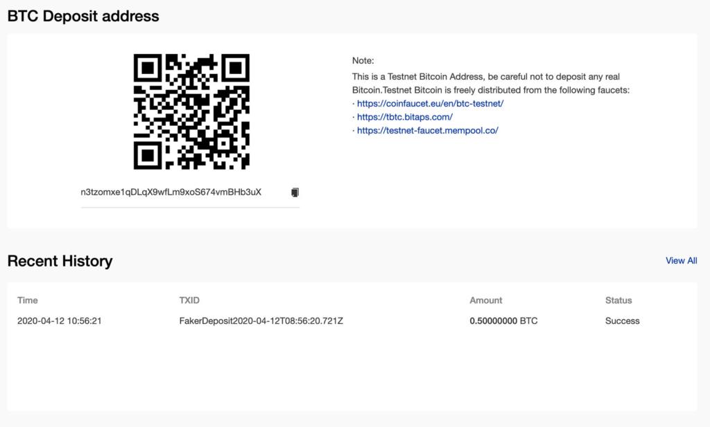 0.5 BTC Phemex Testnet Accountguthaben