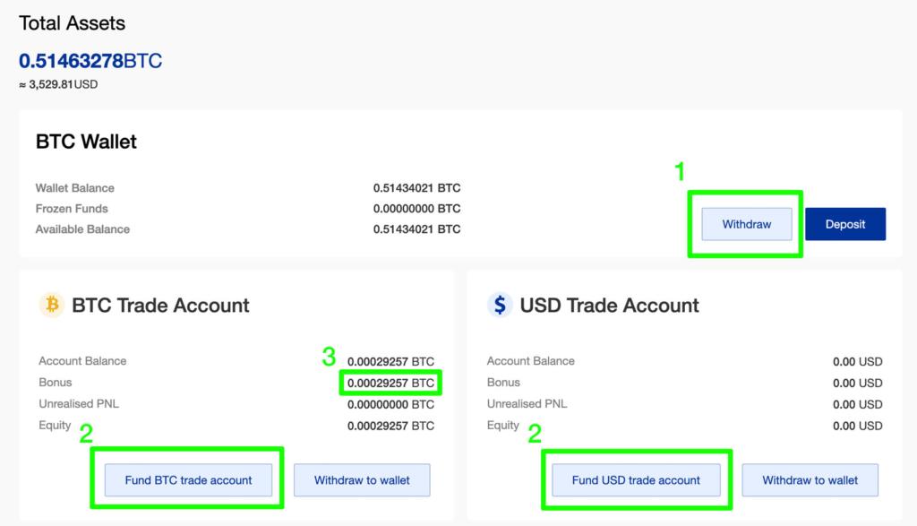 Phemex Wallet & Trade Account Übersicht