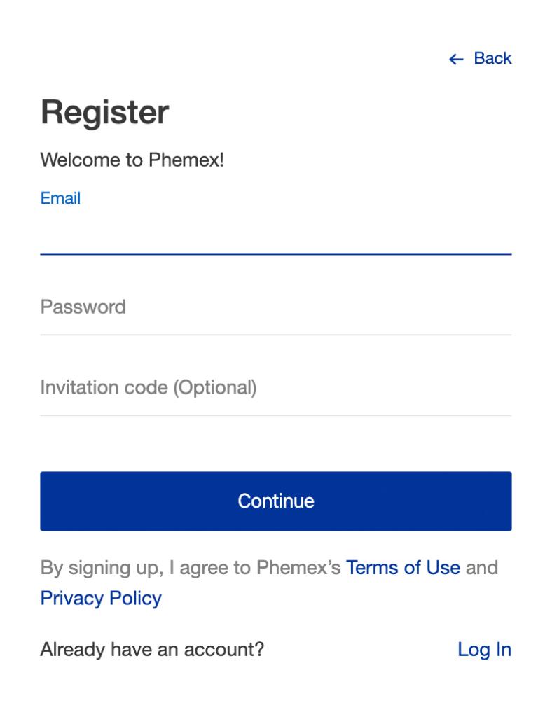 Registrierung Phemex