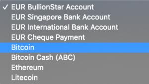 Verkauf von Gold auf BullionStar