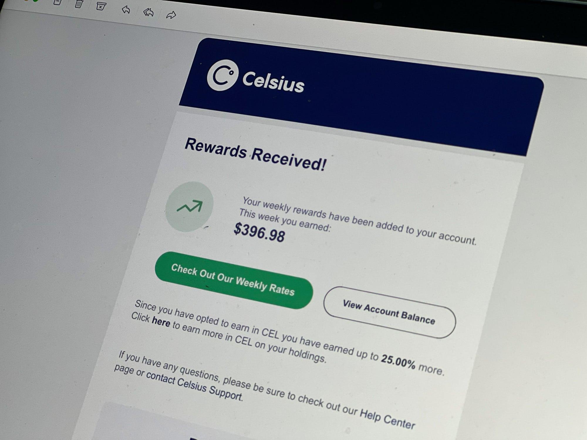 Krypto Lending Celsius Zinseinahmen